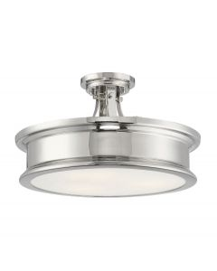 Watkins 3 Light Polished Nickel Semi Flush