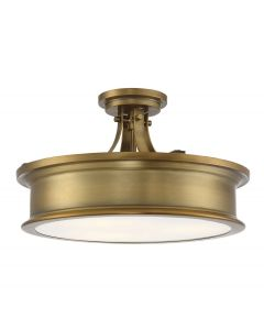Watkins 3 Light Warm Brass Semi Flush