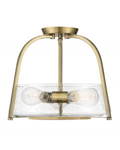 Dash 3 Light Warm Brass Semi Flush Mount
